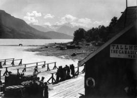 [View over dock and net racks at the Tallheo Cannery]