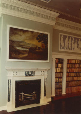 Adam Library, detail of fireplace and painting