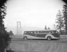 New Pacific Stage bus [overlooking the south end of the Lions Gate Bridge]