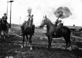 [Mayor Ambrose Bury of Edmonton and Mayor L.D. Taylor on horseback]