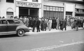 [Boeing workers outside the Boeing Aircraft of Canada, Ltd. plant after being locked out by compa...