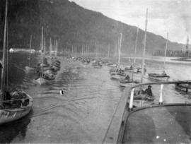 [Fishing fleet near] North Pacific Cannery