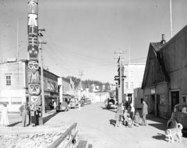 Main Street [showing businesses and totems], Wrangell, Alaska