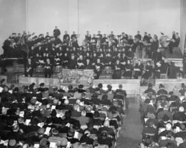 [Interior of Salvation Army Temple - 301 East Hastings Street during opening ceremony]