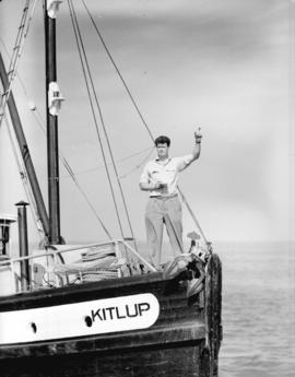 "Dick Jack, Assistant Product Manager Canadian Fishing Company on bow of packer ""Kitlup"""
