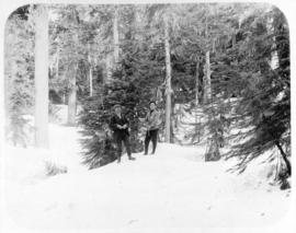 [Arthur Tinniswood Dalton with a man, possibly his father on the] plateau on Grouse Mountain