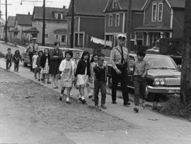 [Students from Admiral Seymour Elementary School at safety crossing on Hastings Street]