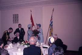 City Hall: Vaniers' Visit [Governor General] Luncheon; Mme. Vanier receiving roses.