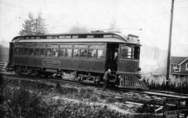 "[B.C. Electric Railway Company car ""Sumas"" at the Lakeview Station on the Central Park ..."
