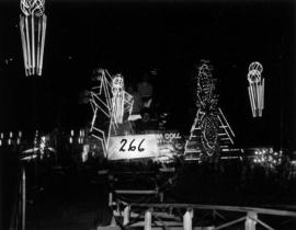 Illuminated P.N.E. Gayway amusement rides at night