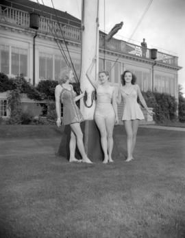 [Women modeling bathing suits outside the Royal Vancouver Yacht Club]