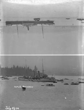 "[H.M.S. ""Rainbow"", ""Komagata Maru"", and other boats in Vancouver harbour]"