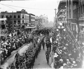 [Northward view of Coronation Day Parade along Granville at Georgia Streets]