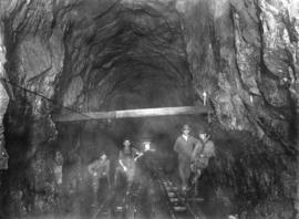 Lake Buntzen tunnel enlargement showing portion enlarged by Messrs. Hermon and Burwell near west ...
