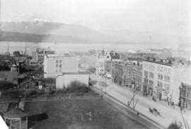 [Northeast view of the 600 Block Granville Street from the Hotel Vancouver]