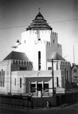 [St. James Church under construction at 301 East Cordova Street]