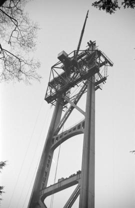 [A tower of the Lions Gate Bridge under construction]