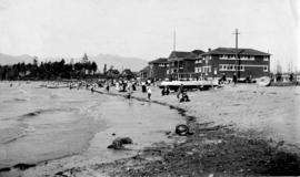 [View of Kitsilano Beach, bathhouse and bandstand]
