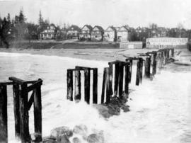 [English Bay Pier pilings and view of Beach Avenue]