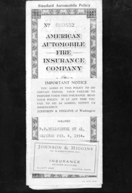 [Copy of a] Roy Insurance Company Policy [American Auto Fire Insurance Company, Johnson and Higgens]