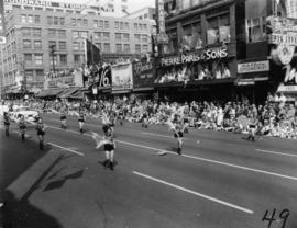 Majorettes marching in 1955 P.N.E. Opening Day Parade