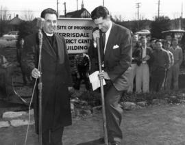 [Rev. Harry Lennox and Mr. W. R. Russell at sod-turning ceremony for the Kerrisdale Community Cen...