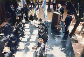 View from above of the reenactment of Vancouver's first City Council meeting at 12 Water Street