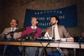 Greg Layne and Kevin Brown (Vancouver PWA Coalition) and their lawyer Dennis Dahl announce suit a...