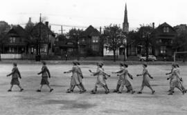 Canadian Red Cross Volunteer Women's detachment marching on parade
