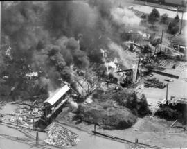 [Aerial view of fire at Vancouver sawmill]