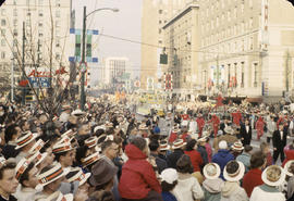 48th Grey Cup Parade, on Georgia and Howe, spectators and Van Zor Grotto Masons car