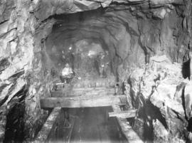 Lake Buntzen tunnel enlargement showing Mr. G.S. Binkley's method