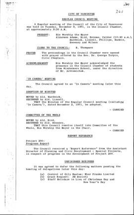 Council Meeting Minutes : Nov. 9, 1971