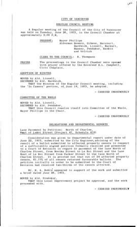 Council Meeting Minutes : June 26, 1973