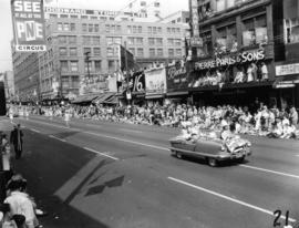 North Vancouver Drum Majorette Club decorated car in 1955 P.N.E. Opening Day Parade