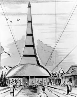 Sketch of pavilion for 1959 P.N.E. Salute to the Orient
