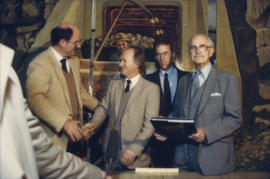 Mike Harcourt, Ferdinand Petrov, unidentified man and Fraser Wilson in front of mural