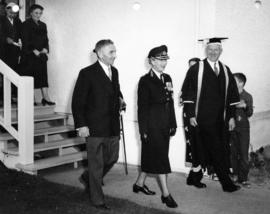 Sherwood Lett, President MacKenzie, and Mary, the Princess Royal at the University of British Col...