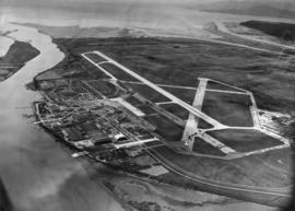 [Aerial view of Vancouver International Airport looking west]