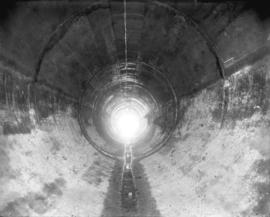 [Interior of concrete lined hydraulic tunnel from Buntzen Lake for Buntzen Lane Power Plant numbe...