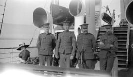 "[James L. Quiney and Militia friends aboard the S.S. ""Victoria""]"