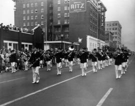 Marching band in 1949 P.N.E. Opening Day Parade