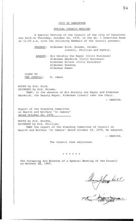 Special Council Meeting Minutes : Oct. 22, 1970
