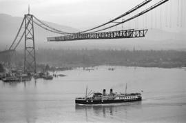 [Union steam ship passing under the Lions Gate Bridge under construction]