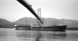 S.S. Oceanside [passing under Lions Gate Bridge]