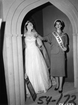 Nancy Hansen, Miss P.N.E., with Tracy's bridal dress display