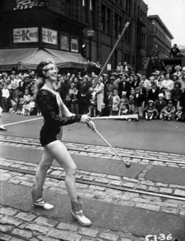 Majorette in 1953 P.N.E. Opening Day Parade