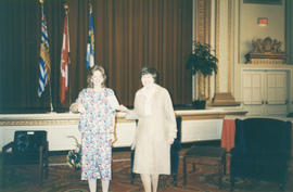 Two women at the Distinguished Pioneer Award Ceremony at Hotel Vancouver