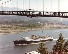 "Aerial view of CP car ferry, ""Princess of Vancouver"" under Lions Gate Bridge"