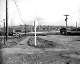 View of Exhibition Park Race Track from the intersection of Renfrew St. and Eton St,